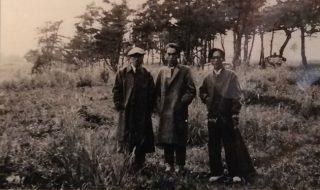 久住高原南登山口に来訪した川端康成