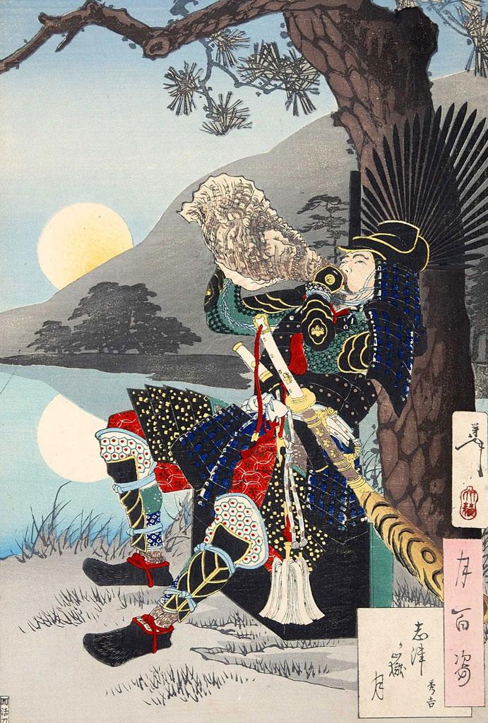 月岡芳年 『月百姿 志津ヶ獄月』 賤ヶ岳の戦いの秀吉 明治二十一年(1888年)
